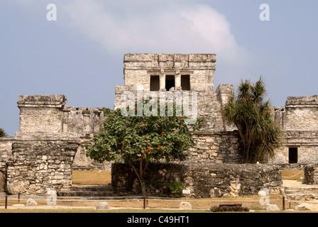 El Castillo at the Mayan ruins of Tulum on the Riviera Maya, Quintana Roo, Mexico - Stock Photo