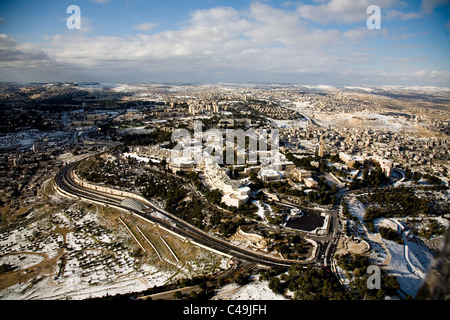 Aerial photograph of the Hebrew University on the Zofim mountain in Jerusalem - Stock Photo