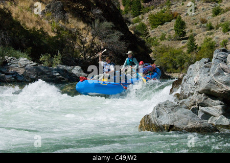 Rafters running Tappan Falls on the Middle Fork of the Salmon River ID - Stock Photo