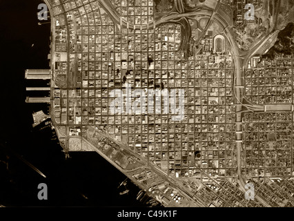 historical aerial map view San Diego California 1966 - Stock Photo