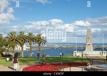 War Memorial in KIngs Park with Swan River in background. Perth, Western Australia, Australia - Stock Photo