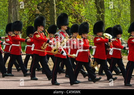 Welsh guards marching band returning to barracks - Stock Photo