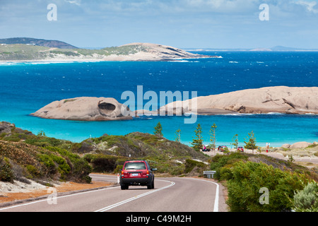 Road leading down to Twilight Cove.  Esperance, Western Australia, Australia - Stock Photo