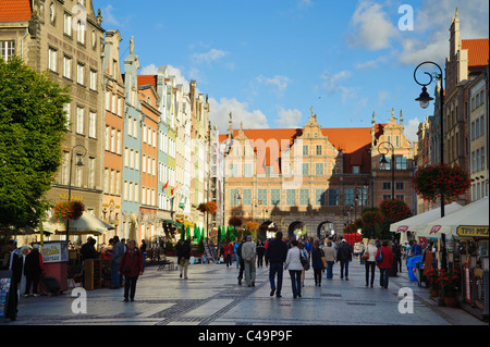 Długi Targ (the long market), centre of the old town in Gdansk, Poland - Stock Photo
