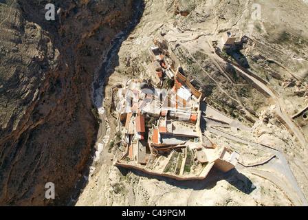 Aerial photograph of the Monastery of Mar Saba in the Judea Desert - Stock Photo