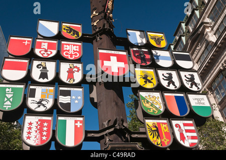 Cantonal tree sign of Swiss cantons at Swiss Court Leicester Square London UK - Stock Photo