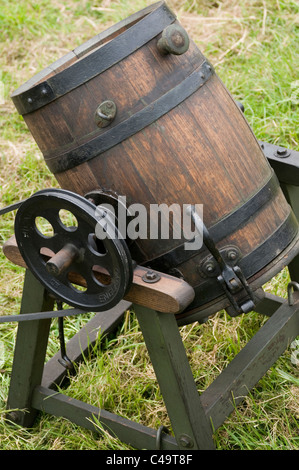 butter churn churns churning old vintage machine early old fashioned - Stock Photo