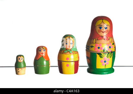 four russian dolls, white background - Stock Photo