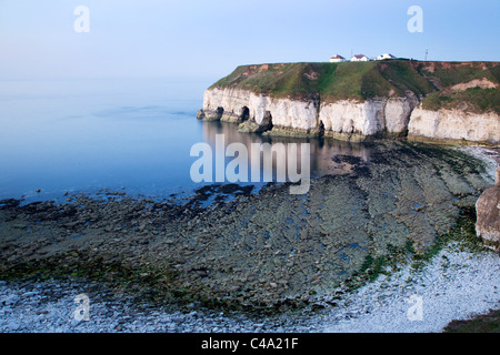Thornwick Bay in Twilight Flamborough Head East Riding of Yorkshire England - Stock Photo