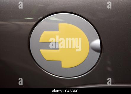 BMW Mini Electric Logo on the filler cap or fuel door - Stock Photo