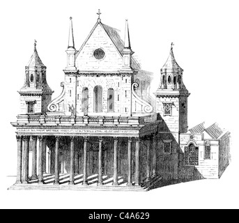 Inigo Jones' Portico, west end of Old St Paul's Cathedral, London; Black and White Illustration; - Stock Photo