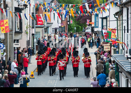 The Wesh Guards parade through Presteigne, Powys, Wales, UK, on being awarded the Freedom of the County in May 2011 - Stock Photo