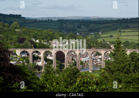 The Calstock Viaduct, Cornwall, carries the Tamar Valley Line over the river Tamar between Plymouth and Gunnislake - Stock Photo