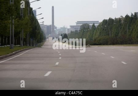 empty streets in pyongyang, north korea (dprk stock photo