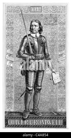Portrait of Oliver Cromwell; Black and White Illustration; - Stock Photo