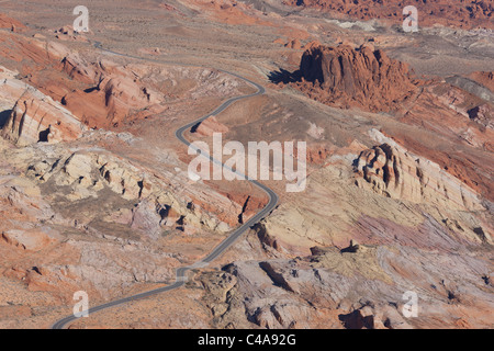 VALLEY OF FIRE STATE PARK (aerial view). Winding road in a colorful sandstone formation. Southern Nevada, USA. - Stock Photo