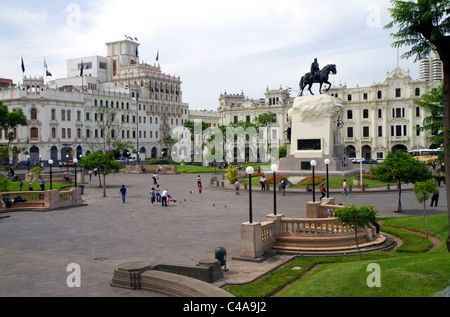 Plaza San Martin located within the Historic Centre of Lima, Peru. - Stock Photo