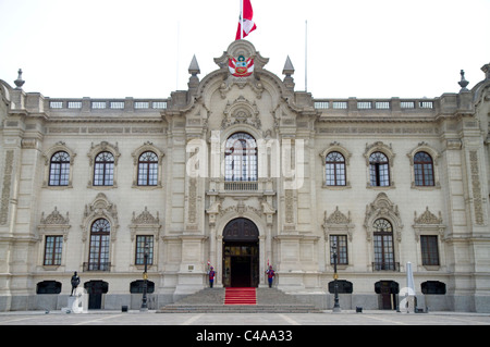 The Government Palace of Peru also known as the House of Pizarro, located on the north side of Plaza Mayor in Lima, - Stock Photo