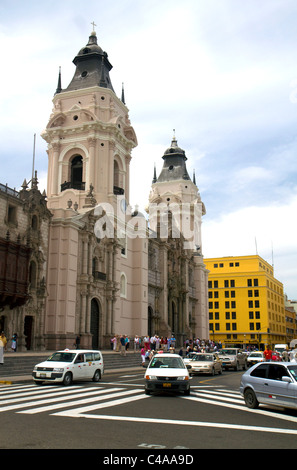 Basilica Cathedral at the Plaza Mayor or Plaza de Armas of Lima, Peru. - Stock Photo