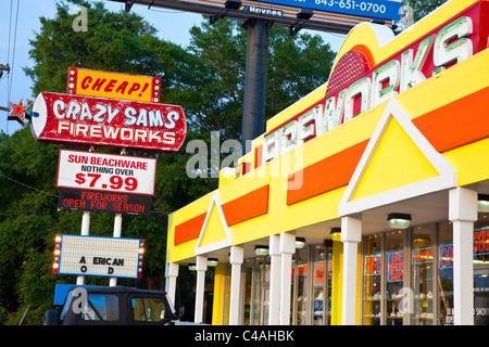 Fireworks shop, Myrtle Beach, South Carolina - Stock Photo