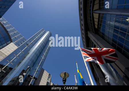 european parliament building brussels british uk flag union jack - Stock Photo