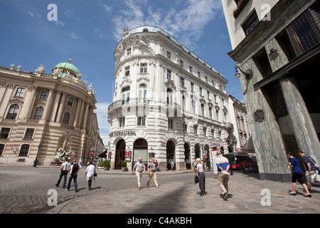 Michaelerplatz with the Cafe Griensteidl and the Loos House, Vienna, Austria. Photo:Jeff Gilbert - Stock Photo