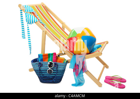 Deckchair and accessories isolated on white background. - Stock Photo