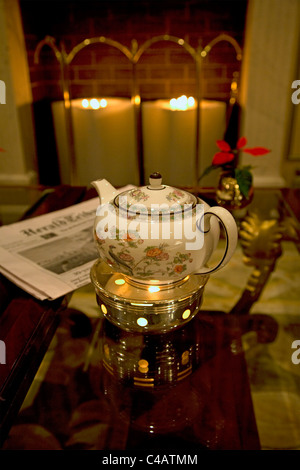 Moscow, Russia; A teapot in one of the luxury hotels just off red square - Stock Photo