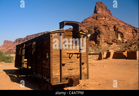 Saudi Arabia, Madinah, Al-Ula. Remnants of the famous Hejaz Railway, including this abandoned cargo wagon, - Stock Photo