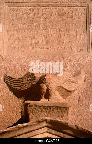 Saudi Arabia, Madinah, nr. Al-Ula, Madain Saleh (aka Hegra). Nabatean inscriptions and raptor adorn the facade - Stock Photo