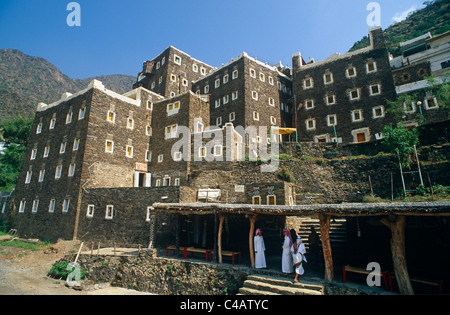 Saudi Arabia, Asir, Rejal- al-amaa. Standing in the Asir Mountains and recently part-restored, the village of Rejal - Stock Photo