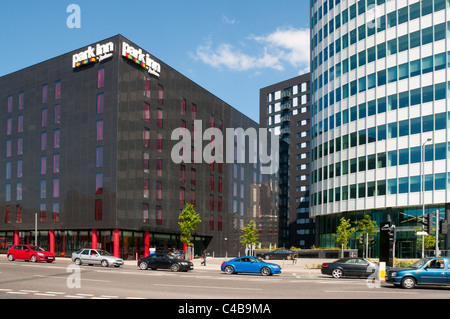 Park Inn and the City Park office tower, Green Quarter development, Manchester, England, UK. - Stock Photo