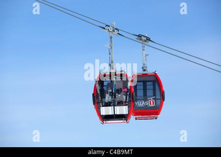 Gondola lift in Ylläs ski resort, Finland - Stock Photo