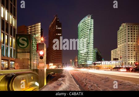 Potsdamer Platz, the new Centre of Berlin in Winter. Germany - Stock Photo