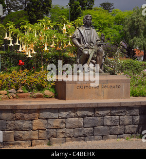 The Christopher Columbus statue in Santa Caterina Park, Funchal, Madeira, Portugal. - Stock Photo