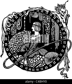 An illustration by Harry Clarke from Edgar Allan Poe's 'Mystery and Imagination', published by Harrup in 1919. - Stock Photo