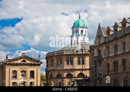 Clarendon Building and Sheldonian Theatre in Broad Street or The Broad, Oxford, England, UK - Stock Photo