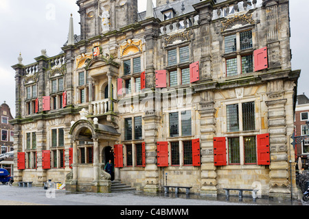 The Stadhuis (Town Hall) in the Markt (Main Square), Delft, Netherlands - Stock Photo