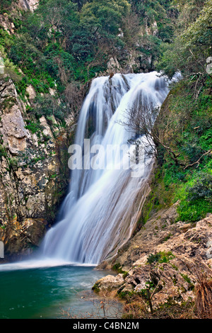 One of the many waterfalls at Polylimnio, a place of exceptional natural beauty at Messinia prefecture, Peloponnese, - Stock Photo
