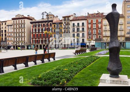 Plaza del Castillo in the historic Old Town (Casco Viejo), Pamplona, Navarre, Spain - Stock Photo
