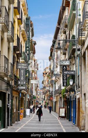 Shops on Calle de San Nicolas in the historic Old Town (Casco Viejo), Pamplona, Navarre, Spain - Stock Photo