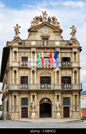 The baroque style Town Hall (Ayuntamiento) in the historic Old Town (Casco Viejo), Pamplona, Navarre, Spain - Stock Photo