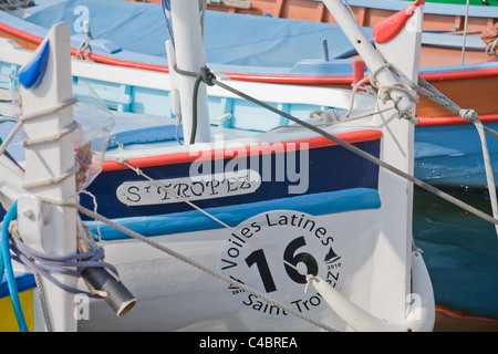 A boat named 'St. Tropez' is situated in the port of Saint-Tropez at the Cote d'Azur/ Provence, France - Stock Photo
