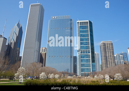 View of skyscrapers from Daley Bicentennial Plaza in Chicago's Grant Park - Stock Photo