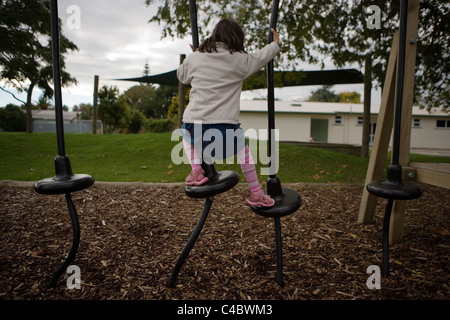 Adventure playground at local school, Palmerston North, New Zealand. - Stock Photo