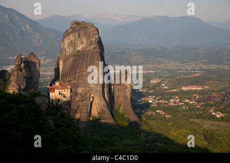 The Meteora complex of Eastern Orthodox monasteries, UNESCO World Heritage in the Plain of Thessaly, Greece - Stock Photo
