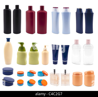 A lot of cosmetics isolated on white - Stock Photo