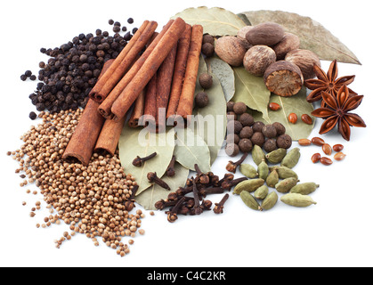 Various spices isolated on white background - Stock Photo