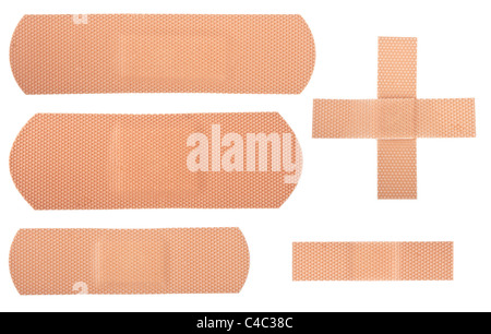Group of adhesive plasters isolated on white background - Stock Photo