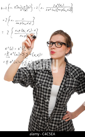 blonde student girl drawing a mathematical formula in the air, isolated on white - Stock Photo